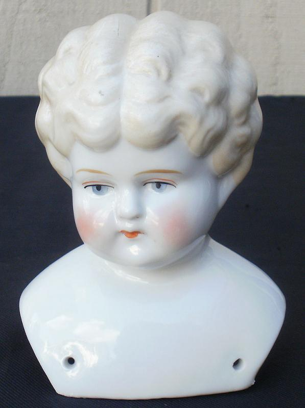 Antique Vintage China Doll Head Only Molded Hair Shoulder Plate Excellent