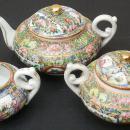 Chinese Export Antique Canton Rose Medallion Teapot, Creamer & Sugar