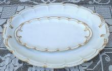 Haviland Limoges White with Double Gold Two Scalloped Platters 1900's
