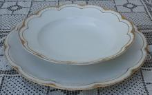 Haviland Limoges White with Double Gold 2 Scalloped Serving Pcs. Lid 1900's