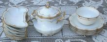 Haviland Limoges White with Double Gold Two Scalloped Serving Bowls & Lid 1900's