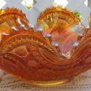 Vintage Carnival Glass Imperial Long Hobstar Ruffled Marigold Fruit Bowl Orange