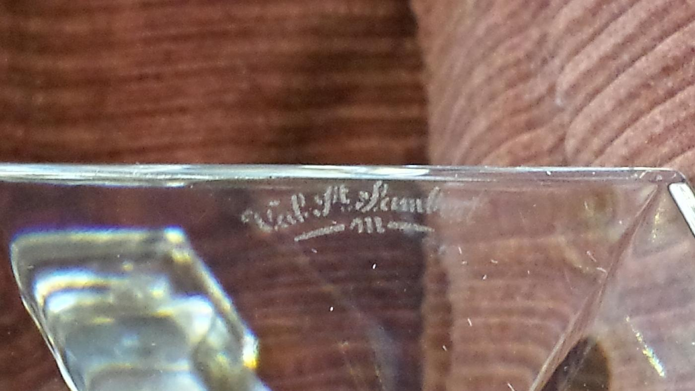 Vintage Signed Val St Lambert Pr of Gardenia Crystal Candlesticks 9 3/4