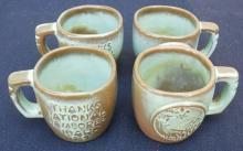 Vintage 1969 Jamboree Idaho Frankoma (4) Coffee Cups