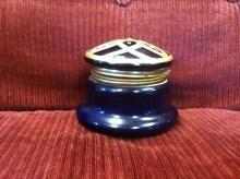 Antique Cobalt Blue Gold and Enamel Jar