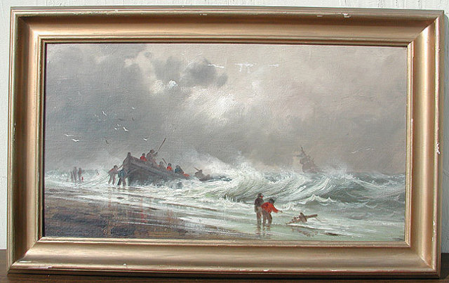 Oil Painting Shipwreck/Rescue, Sea Scape