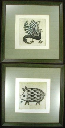 Pair of Dry-Point Engraving Signed
