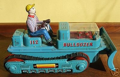 Battery Operated Tin Toy Bulldozer, 1960's
