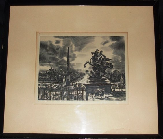Paris Decaris Signed Framed Engraving