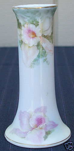 Victorian Hatpin Holder Handpainted Flowers Prussia