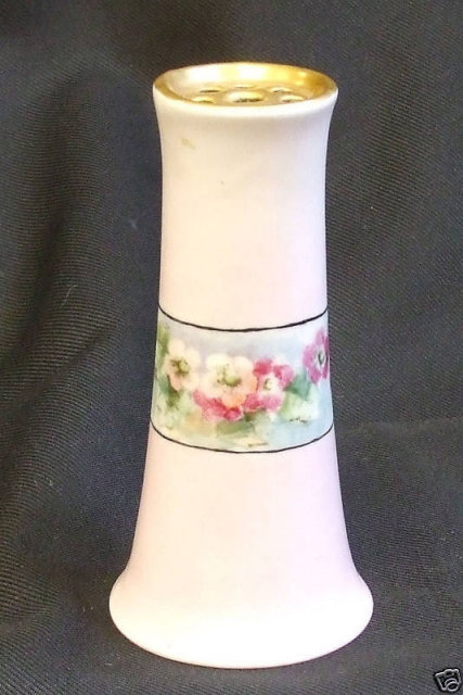 Victorian Hatpin Holder Handpainted Flowers & Gold