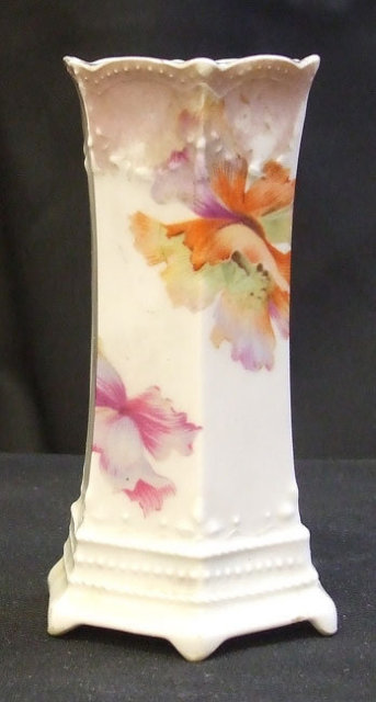 Victorian Hatpin Holder Handpainted Flowers RS Germany