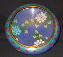 Antique Vintage Blue Cloisonne Bowl w/Flowers China