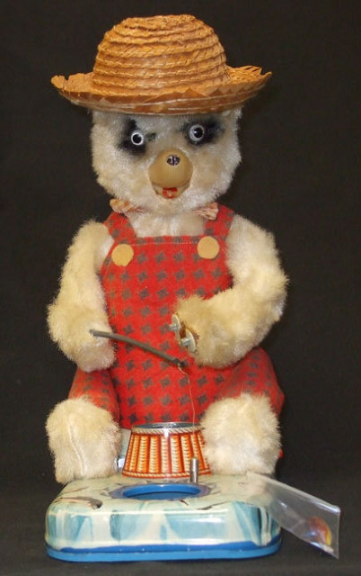 Vintage Bear Fishing Battery Operated Tin Toy Japan