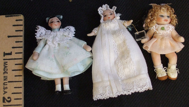3 Artist Dollhouse Miniature Porcelain Dolls Girls