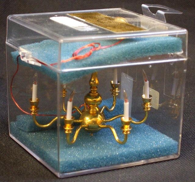 Dollhouse Mini 6 Arm Chandelier w/Crystals & Brass