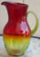 Antique Amerina Amber Glass Pitcher applied handle