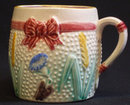 Antique Majolica Bow Mug / Cup, Good Condition