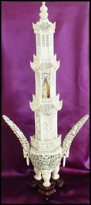Antique Ivory Carving - Incense Burner - 34