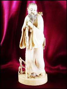 Antique Ivory Carving - Meiji - Gama Sennin with Frog