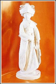 Antique Ivory Carving - Meiji - Tokyo School - Geisha holding a Fan