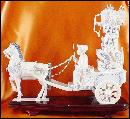 Antique Ivory Carvings - Emperor and Empress in Horse Drawn Chariots