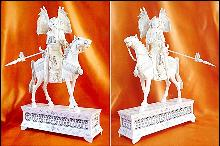 Antique Ivory Carvings - Chao Tzu-Lung and Chou Yu on Horseback