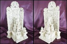 Antique Ivory Carvings - Emperor and Empress on Thrones