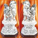 Antique Ivory Carvings - Foo Dogs and Baby Foo Dogs