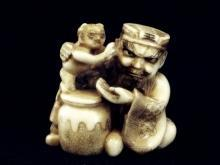Antique Ivory Netsuke - SHOKI with a BABY ONI