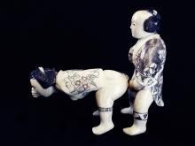 Erotic Mammoth Ivory Netsuke - Coming from Behind