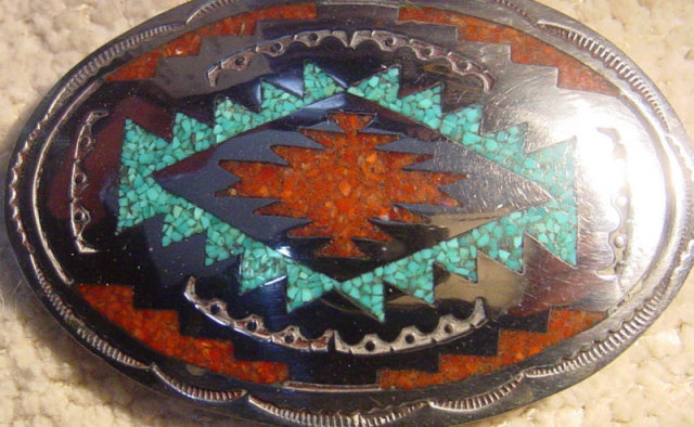Signed Inlaid Silver Navajo Belt Buckle