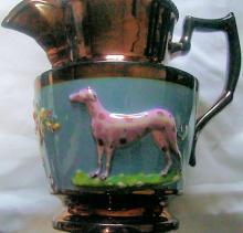 English Copper Luster Jug With Animals