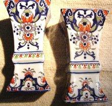 Pair 18th Century Rouen vases