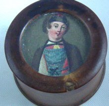 Fine Miniature On Boxwood Snuff Box