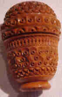 Antique Coquilla Nut Pounce Pot