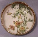 Japanese Satsuma bowl depicting flower and birds