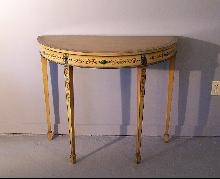 Pair English Edwardian Period ochre painted demi lune console tables