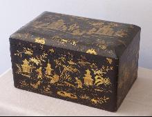 large China Trade 19th c.black lacquered tea chest