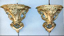 Pr 18th Century Italian Rococo Period hand carved wall brackets