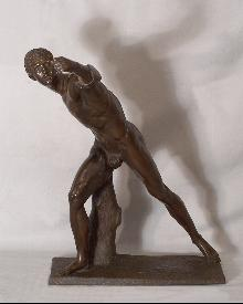 Bronze sculpture figure of a young athlete c1870