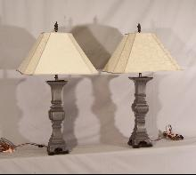 Pair 18th century Chinese pewter lamps