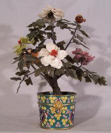 19th c Jade tree with cloisonne base c1870