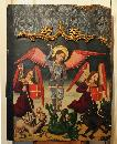 15th century Spanish panel painting of St George and dragons