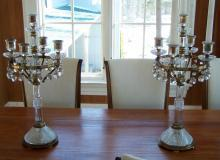F  C Osler cut glass and bronze candelabras
