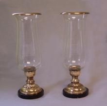 Hand blown glass and brass hurricanes with marble base c1930
