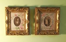 PR Victorian gold leaf picture frames with embroidered inserts c1875