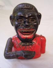 Jolly Negro cast iron mechanical  penny bank c1880