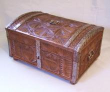 Early Swedish carved oak document box c 1750