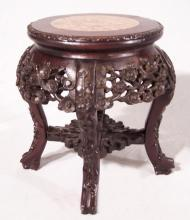Small Chinese rosewood plant stand with marble top c1860